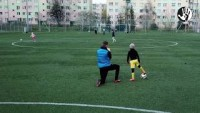 """Let's Kick Racism out of the Stadiums"" - a training with 7-year-old player of Siarka Tarnobrzeg, 7.04.2019."